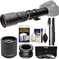 Vivitar 500mm f/8.0 Telephoto Lens with 2x Teleconverter (=1000mm) + Monopod + 3 Filters Kit for Sony Alpha E-Mount Digital Cameras