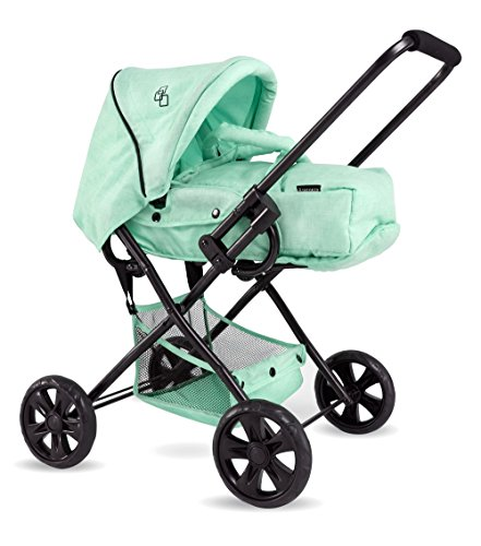 Triokid NEW Color 2 in 1 Baby Doll Stroller ViViLIne Mint Green Drawable Fabric with Portable Doll Carry Bed & Removable Weather Resistant Canopy (Stroller Mint)