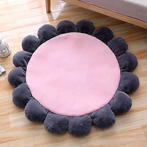 (Flower Area Rug for Kids Girls Room, Girls Area Rugs,Baby Nursery Floor Rugs, Kids Room Decorative Flower Pink Rug Mat by HILTOW(Diameter 43.5)