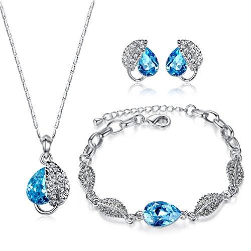 GoSparking-Conjunto-de-colgate-pulsera-y-pendientes-de-aleacin-de-oro-blanco-plateado-18K-con-cristal-austraco-Aquamarine-azul-cristalino
