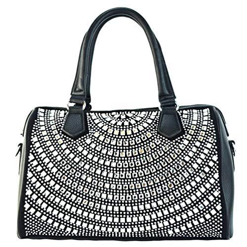 Rhinestone Studded Boston Duffle Bag-Silver (black)