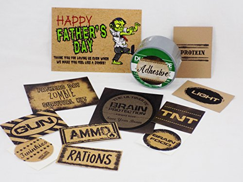 Father's Day Zombie Survival Kit Gift Basket (Labels and Card Only) (Walking Dead Gift Basket)
