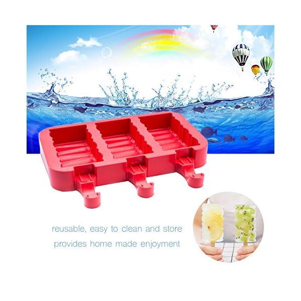 Popsicle Molds Stampo Per Gelato Popsicle Maker Popsicle Stampi Ghiacciolo Rosso Rettangolo Con Popsicle Stick… 3 spesavip