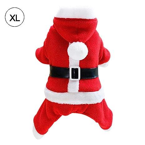 Feiledi Traje de Navidad para Mascota, Gato, Perro, con Capucha, Disfraz de Papá Noel, con Capucha, Abrigo de Terciopelo, Traje pequeño para Perro, ...