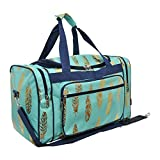 Gold Feather Print NGIL Canvas Carry on 20'' Duffle Bag