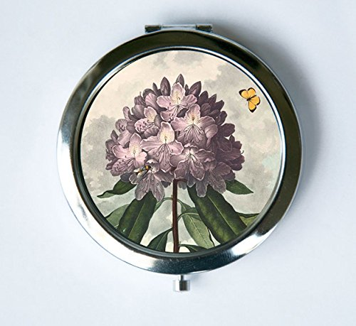 The Pontic Rhododendron Purple Flower Compact Mirror Pocket Mirror Butterfly