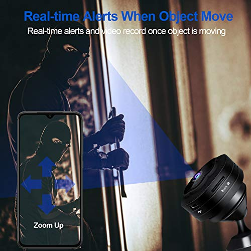 Mini Spy Camera WiFi Hidden Camera Wireless HD 1080P Monitor for Home Security Nanny Cam with Night Vision Motion Detection Recording, Battery Powered 5 Hours Remote View for iOS/Android Phones
