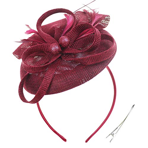 (DRESHOW Fascinators Hat Flower Mesh Ribbons Feathers on a Headband and a Clip Tea Party Headwear for Girls and Women (6