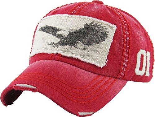 (KBVT-573 RED Eagle Vintage Distressed Dad Hat Baseball Cap Adjustable)