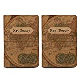 Old Vintage Map - Couple Passport Holder Personalized Passport Cover Set of 2