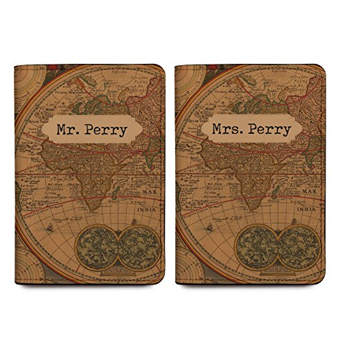 Old Vintage Map - Couple Passport Holder Personalized Passport Cover Set of 2 by With Love From Julie