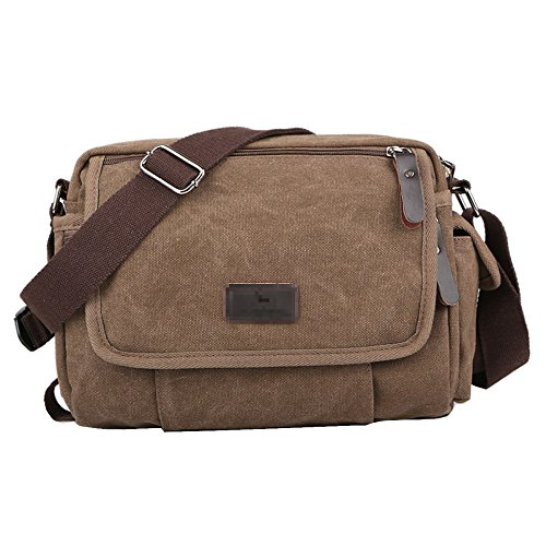 Aiyil Shoulder Bag Men Canvas Casual Vintage Business Travel Zipper Bag Crossbody Messenger Satchel Multi Pocket Coffee