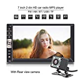Qiilu 7 inch Universal 2 Din Car Stereo Receiver Multimedia MP5 Player Bluetooth/USB/TF/SD/AM/Radio Audio FM/Aux Input/Charger with Rear View Camera