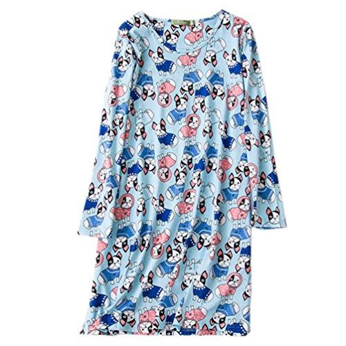 ENJOYNIGHT Women's Cotton Sleepwear Long Sleeves Nightgown Print Tee Sleep Dress (Medium, Blue Dog) Dog Long Sleeve Tee