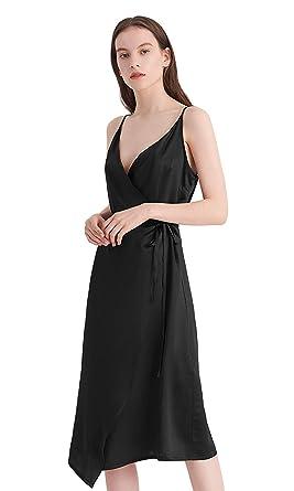 3f82a7c8c4fd LilySilk Black Silk Dress for Women Long 16MM Sexy V-Neck Wedding Prom  Party Summer
