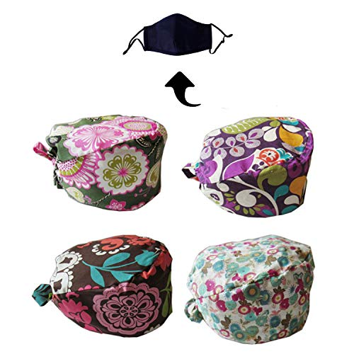 Scrub Hats Blue Sky - JoyRing 4 Pack Unisex Adjustable Surgical Hat Scrub Cap with Sweatband for Ponytail and Free Reusable Cotton Mask, One Size Fit Most