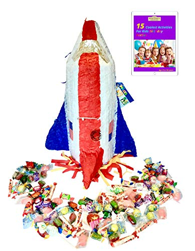 Filled Ya Otta Pinata Space Shuttle Mexican Style Party Supplies Bundle with 2 pounds of Piñata Candy Filler and an eBook on Activities for Kids Birthday Parties from Errands At Home LLC