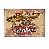 NYMB Grunge Mexican Art Home Decor, Sugar Skull in Sombrero with Flowers Bath Rugs, Non-Slip Doormat Floor Entryways Indoor Front Door Mat, Kids Bath Mat, 15.7x23.6in, Bathroom Accessories