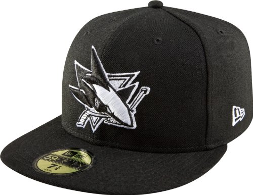 NHL San Jose Sharks Basic Black and White 59Fifty Cap, Black/White, 7
