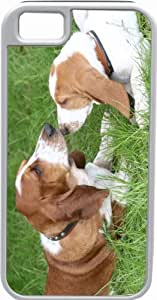 Rikki KnightTM Basset Hound Puppies Deisgn White Tough-It Case Cover for iPhone 5 & 5s(Double Layer case with Silicone Protection and Thick Front Bumper Protection)