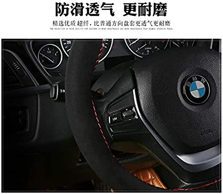 Unique New Suede Material Car Hand Sewing Steering Wheel Cover Size 15 Inch Black Red