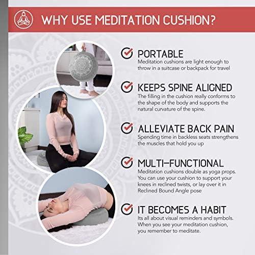 Florensi Cojín de meditación (40,6 x 40,6 x 12,7 cm), almohada de meditación de terciopelo grande, almohada de yoga premium para mujeres y hombres, cojín de yoga, almohadas de meditación para sentarse en el piso, cojines de meditación de trigo sarraceno 7