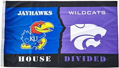 NCAA Kansas - Kansas State 3-by-5 Foot Flag with Grommets - Rivalry House Divided Rivalry House Flag
