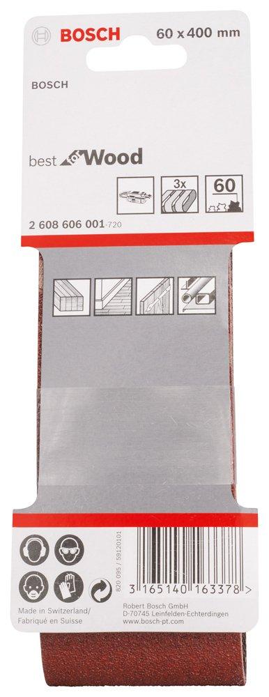 Bosch 2608606001 Ruban abrasif 3 pi/Ã/¨ces 60 x 400 mm Grain 60