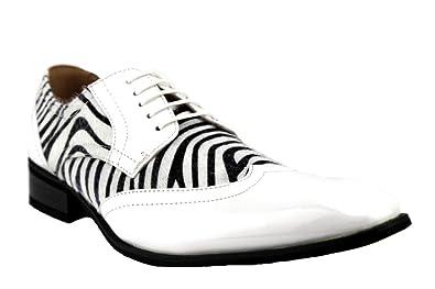ef817e757bbe Majestic Men's 99521 Patent Wing Tip Faux Pony Hair Zebra Print Oxford  Dress Shoes (7