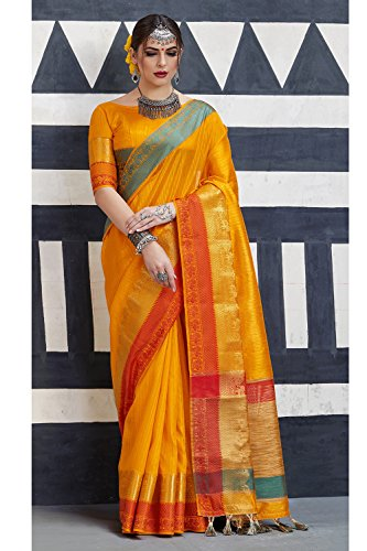 Wedding Facioun Women for Da Traditional Sari Indian Yellow Sarees Silk 3 Tussar Designer Party Wear wqXSXpFx