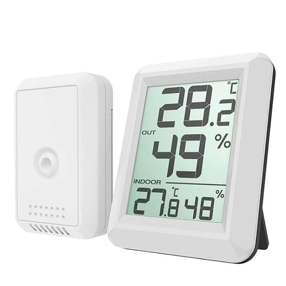 YHML Thermometer Hygrometer Electronic Thermometer and Hygrometer Large Screen Exquisite Beauty Farming Family Wine Cellar Office Studio White
