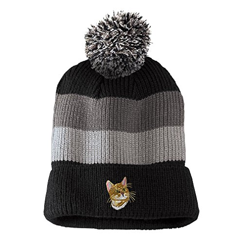 (Bengal Cat Head Embroidered Unisex Adult Acrylic Vintage Striped Removable Pom Pom Beanie Winter Hat - Black/Grey Stripes, One Size)