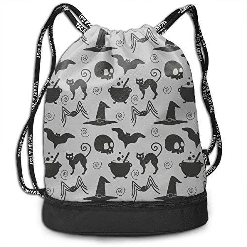 Funlery Happ Eco-Friendly Color Happy Halloween Witch Kitchen Drawstring Bag Rucksack Shoulder Bags Travel Sport Gym Bag Print-Lightweight Portable Sack Bag Pattern Daypack Pockets Adjustable Unisex -
