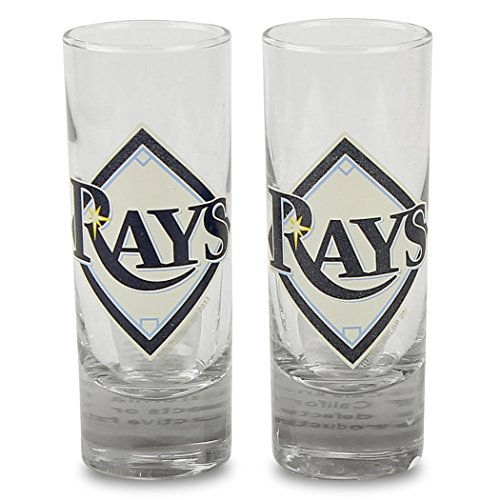Tampa Bay Rays Glass (MLB Color Team Logo 2oz Cordial Shot Glass 2-Pack (Tampa Bay)