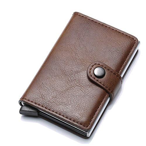 Meeto Credit Card Holder RFID Blocking Wallet Slim Wallet Genuine Leather Vintage Aluminum Business Card Holder Automatic Pop-up Card Case Wallet Security Travel Wallet (Coffee) (Leather Credit Card Wallet)