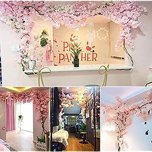 RENHAN Artificial Fake Flowers 3m High Encryption Cherry Blossoms Vine Flowers Plants Silk Flowers String Home Hotel Office Wedding Party Garden Craft Art Décor 119