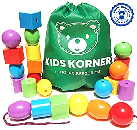 Kids Korner 24 Jumbo Lacing Beads Set with Travel Backpack and Activity eBook for Toddlers and Preschoolers