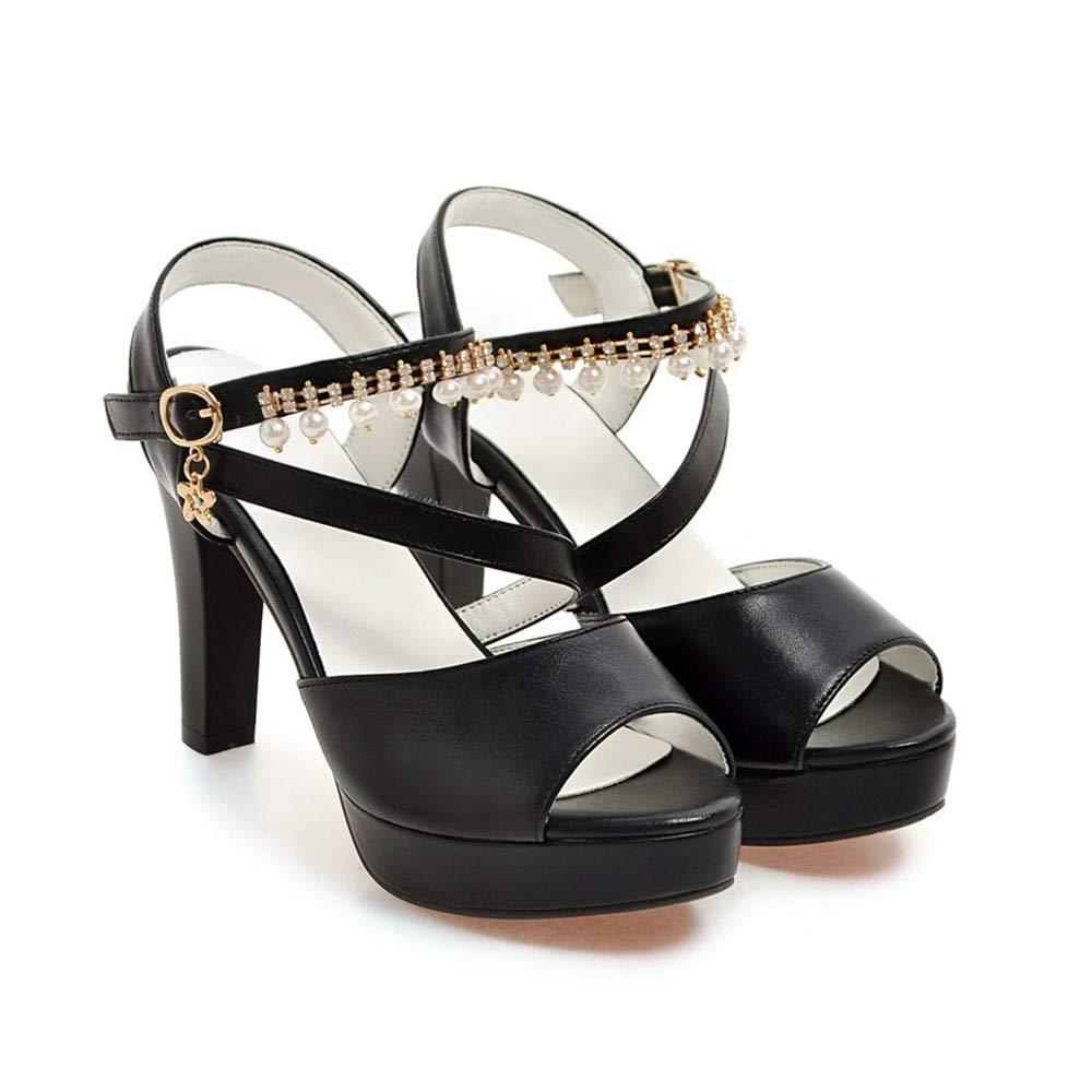 noir HommesGLTX Talon Aiguille Talons Hauts Sandales été Nouvelle Chaussures De Plate-Forme De Mode avec Boucle Extreme Talons Hauts élégant Solide Décontracté Femme Sandales