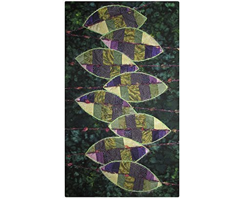 Fabric Wall Hanging, Fiber Art, Abstract Art Quilt, Leaves, Persian Shield by For Quilts Sake