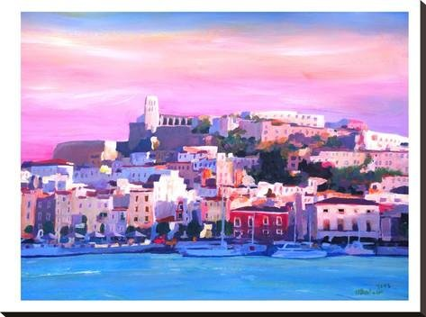ArtEdge Ibiza Old Town And Harbour Pearl Of The Mediterranean by M Bleichner, Size 40W x 30H (30h Pearl)