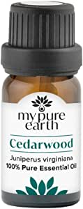 Cedarwood Essential Oil, 100% Pure, Sustainably Sourced, Organically Crafted, Aromatherapy, My Pure Earth, 10ml