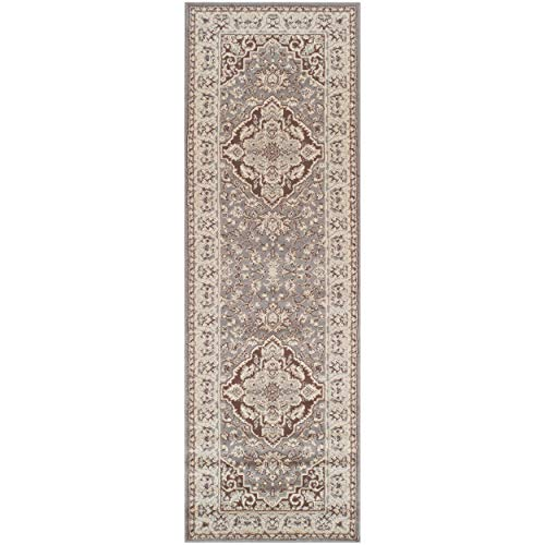 Superior Elegant Glendale Collection Area Rug, 8mm Pile Height with Jute Backing, Traditional Oriental Rug Design, Anti-Static, Water-Repellent Rugs – Grey, 2'7″ x 8′ Runner