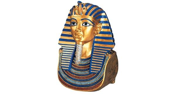 Egipcio antiguo Estatua Escultura Busto máscara de oro tutankamon: Amazon.es: Hogar