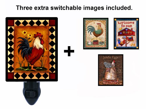 Night Light w/ Switchable Inserts - Rooster (Rooster Light Fixtures)