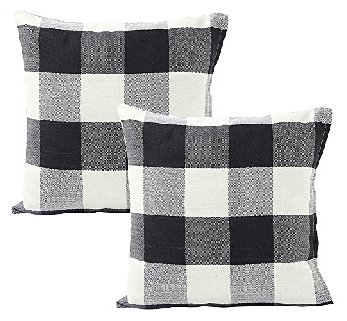 Foucome Country Style Cotton Linen Buffalo Pillow Case Black & White Check Car Bed Sofa Throw Pillow Covers Waist Home Decor Cushion Covers,18 X 18 Set of 2 (Check Plaid Wear)