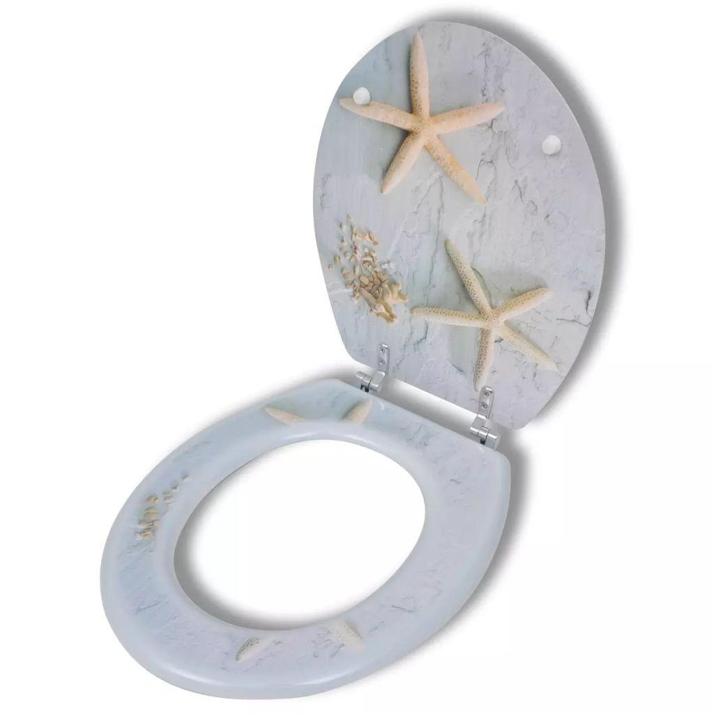 Nishore Asiento para Inodoro con Tapa Dise/ño Estrella de Mar Miranda 43,7 x 37,8 cm