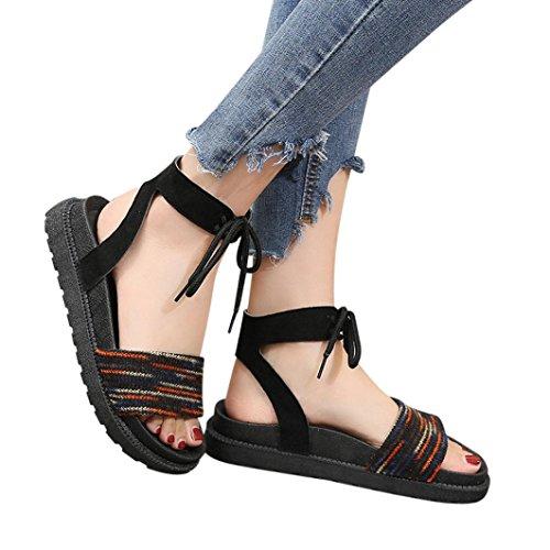 Caopixx Womens Sandals, Girls Mixed Colors Cross Tied Flat Flip Flops Peep Heel Sandals Beach Shoes (Asia Size 37, Red)