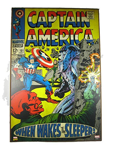 Silver Buffalo Marvel Comics Captain America Wood Wall Art May Issue No. 101 Cover