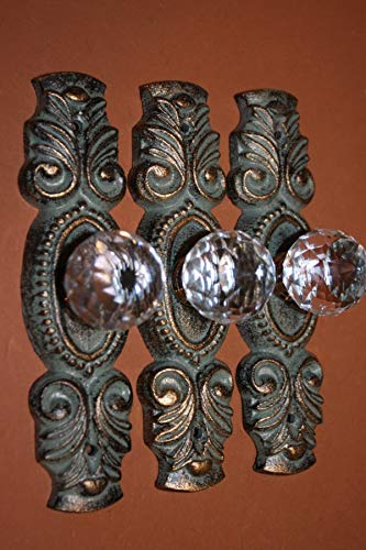 Southern Metal Elegant Victorian Cast Iron Kitchen Cabinet Pulls Handles, Antiqued Look Cabinet Hardware, Set of 3 ~ HW-89