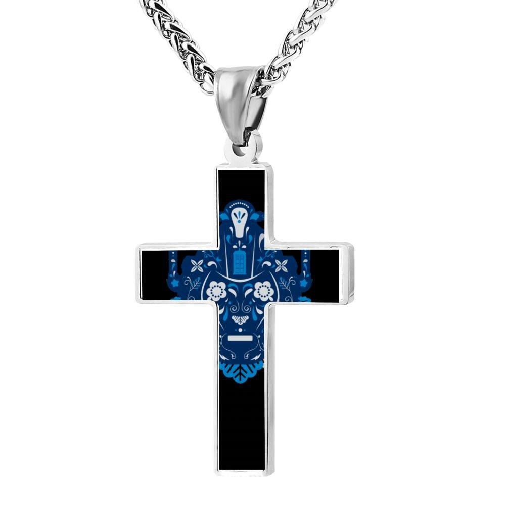Wine Jianxian Sugar Cybermen Cross Pendant Jewelry Zinc Alloy Prayer Necklace For Men Women With Necklace,24 Inch